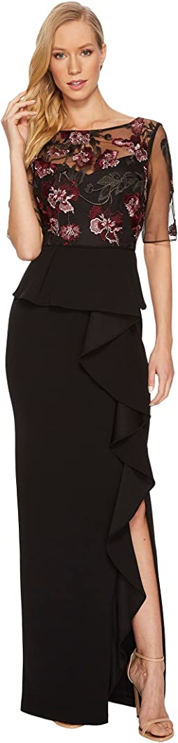 Adrianna Papell Stretch Crepe Embroidered Gown with 3/4 Sleeve