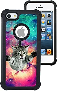 Corpcase - Hybrid Case for iPhone 5 / iPhone 5S / iPhone SE - Hipster Flying Cat Space Galaxy / Unique Case With Great Protection