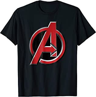 Marvel Avengers Classic Red Beveled Logo Graphic T-Shirt