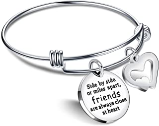 Best Friend Bracelet Friendship Gifts BFF Bangle Long Distance Friends are Always Close at Heart