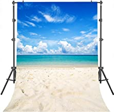 Mehofoto Tropical Beach Photography Backdrop 5x7 ft Blue Sky and White Cloud Photo Booth Backdrops Beach Coast Wedding Holiday Party Backgrounds for Photo Studio Prop