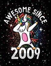 Unicorn Journal Awesome Since 2009 Activity Notebook for Girls Birthday: Combination Diary Pages With Dabbing And Dancing Unicorns Coloring Pages