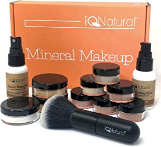 IQ Natural Mineral Makeup Set - 12 Piece Bare Matte Foundation Starter Set with Flawless Face Brush