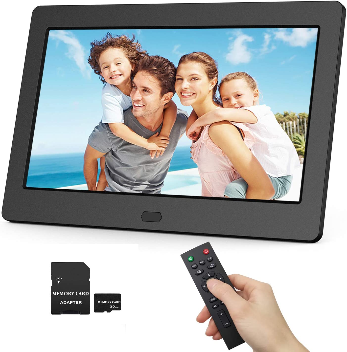 Wall Mountable Photo Auto Rotate Auto Play Digital Picture Frame 17.3 Inch 1920x1080 16:9 Ratio Screen Auto Time On//Off Background Music Motion Sensor Remote Controller Include 32GB SD Card