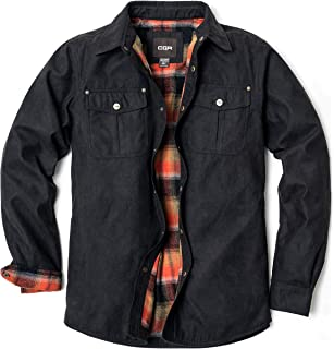 CQR Men's Flannel Long Sleeved Rugged Plaid Cotton Brushed Shirt Jacket (Suede/Quilting Hood/Shirt)