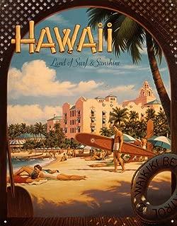 Travel Poster Tin Metal Sign : Hawaii Land of Surf & Sunshine by Kerne Erickson, 13x16