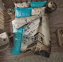 TAC Paris Eiffel Tower Themed Linen Full Queen Bedding Comforter Set, 5-piece