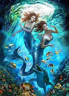 Pintura por Número de Kits DIY Pintura al óleo Dibujo Colorido con cepillos decoración Decoraciones -Linda Hermosa Sirena...