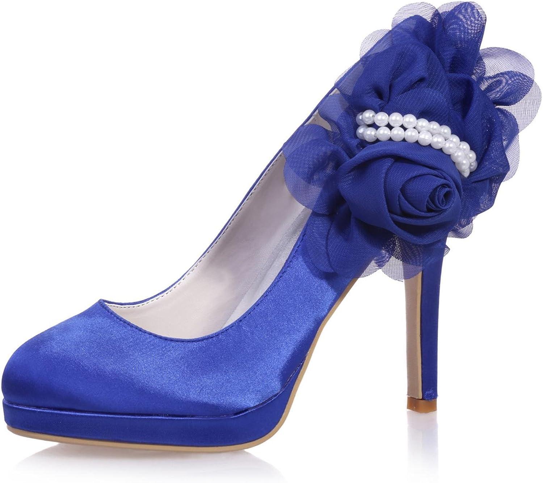 Elegant high schuhe6915-07 Damen High Heels Seide Hochzeit Party & Close Toe Party