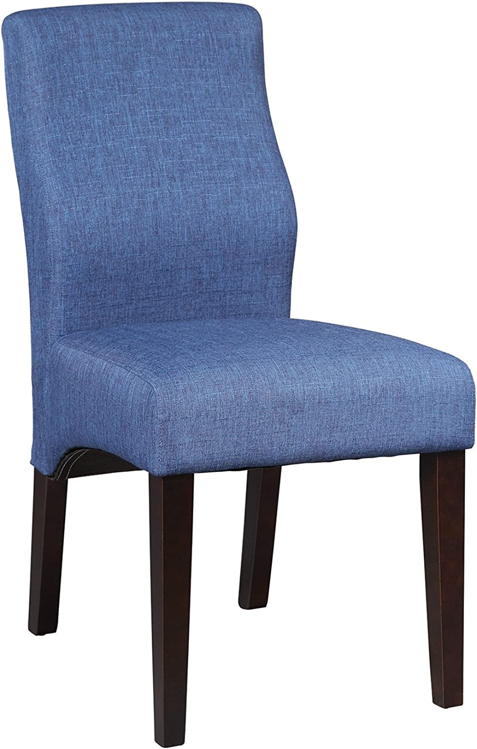 Benzara Well Made Upholstered Dining Chair Set of 2, bluee