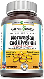 Amazing Omega Norwegian Cod Liver Oil - 1250 mg, 120 Softgels - Purest & Best Quality Cod Liver Oil, Extracted Under Strict Quality Standards from Around The Waters of Norway (Fresh Orange Flavor)