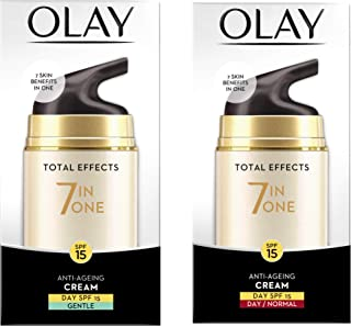 Olay Day Cream Total Effects 7 in 1, Anti-Ageing Gentle Moisturiser, 50g And Olay Day Cream Total Effects 7 in 1, Anti-Age...