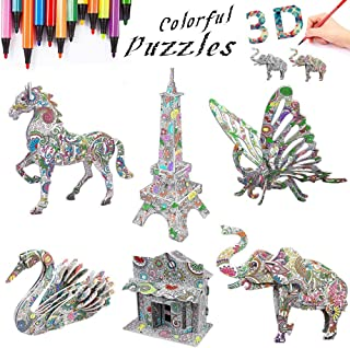 3D Coloring Puzzle Set (6 Pack)-DIY Arts and Crafts for Kids -STEM Educational Construction Toys-Perfect Creativity Kit & Travel Activity-Best Toy Gift for Girls and Boys