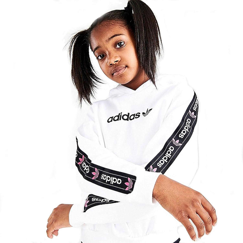 adidas Originals Girls' Taped Logo Pullover Hoodie