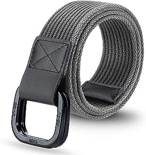 ITIEZY Men's Military Canvas Webbing Belt, Double D Ring Buckle Casual Outdoor Golf Belt for Men/Women