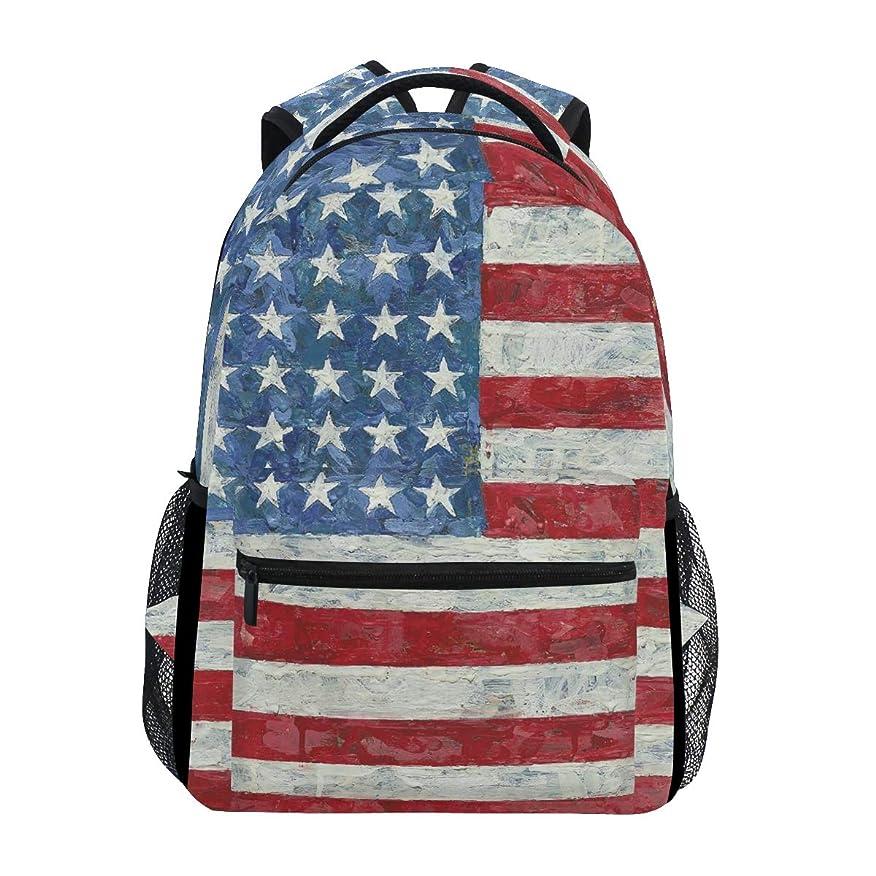 観察エンディング服マキク(MAKIKU) リュック レディース 大容量 軽量 リュックサック メンズ 高校生 A4 中学生 小学生 通学 アメリカ国旗柄 星条旗