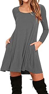 Jingjqingcao Chic Womens Cotton Loose Casual Pockets Pleated Swing Long Sleeve T-Shirt Dress