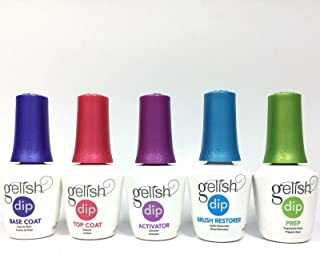 Gelish Dip Dipping Liquids Nail Kit SNS Prep, Base, Activator, Top, Brush Restorer