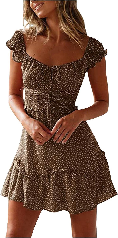 ONHUON Dress for Women Summer,Womens Summer Cute Neckline Printed Night Club Sun Dress Secy Mini Dresses with Short Sleeve