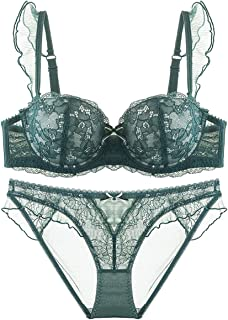 Care Thin Sexy Gathered Bra Set, lace and Sponge, with Steel Ring, Adjustable Chest, Adjustable Shoulder Strap, Three-Row ...