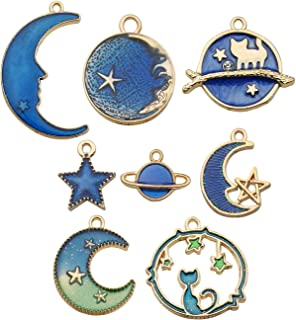 iloveDIYbeads 40pcs Assorted Gold Plated Enamel Cat Moon Star Earth Planet Charms for Jewelry Making DIY Necklace Bracelet Dangle Hook Earring M275