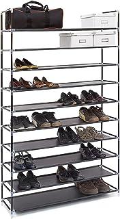 Relaxdays 10019127 Étagère à chaussures XXL pour 50 paires meuble range-souliers 10 étages compartiments HlP: rangement co...