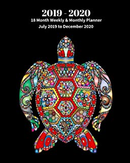2019 - 2020 | 18 Month Weekly & Monthly Planner July 2019 to December 2020: Colorful Turtle Marine Life Ocean Nature Monthly Calendar with U.S./UK/ ... Holidays– Calendar in Review/Notes 8 x 10 in.