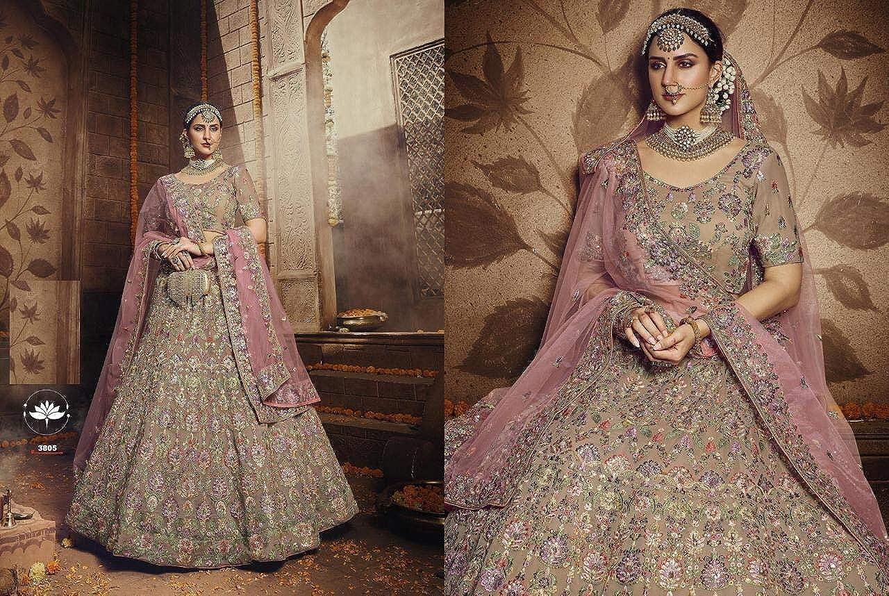 Light Brown Georgette Indian Bridal Sequin Thread Lehenga Choli Dupatta Royal Wedding Reception Bride