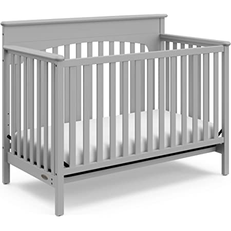 Graco Lauren 4-in-1 Convertible Crib (Pebble Gray) Easily Converts to Toddler Bed, Day Bed, and Full Size Bed, Three Position Adjustable Height Mattress (Mattress Not Included)