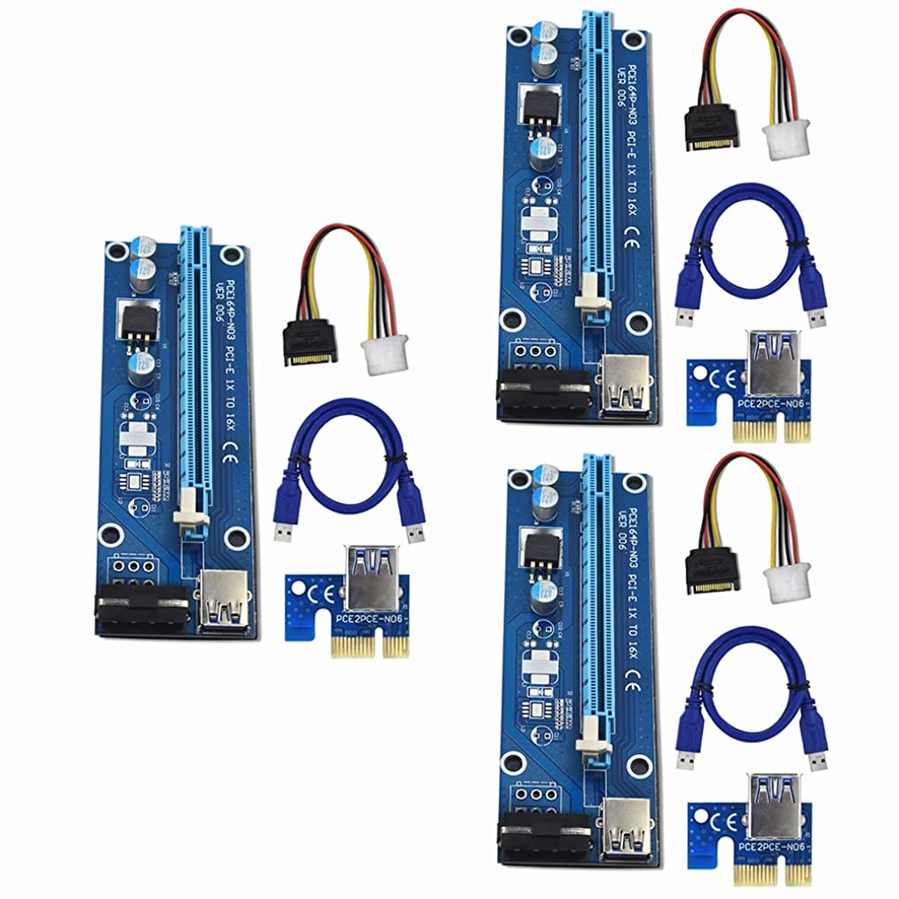 Raycity 3-Pack PCI-E PCI Express VER 006 16x to 1x Powered Riser Adapter Card w/ 60cm USB 3.0 Extension Cable & 4-Pin MOLEX to SATA Power Cable GPU Riser Adapter - Ethereum Mining ETH