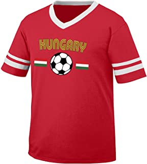 Hungary Soccer / Football and Flag Men's Retro Soccer Ringer T-shirt, Amdesco