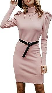 MsLure Women's Turtleneck Knit Sweater Dress Puff Sleeve Mini Dress Bodycon Party Dress