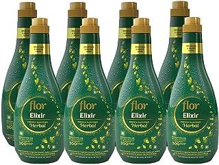 Flor Elixir - Suavizante para la ropa concentrado, aroma Herbal, Pack de 8, hasta 400 dosis