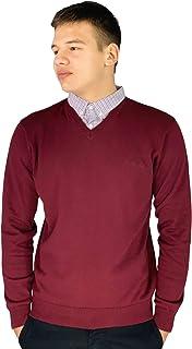Pierre Cardin - Maglione lavorato a maglia con scollo a V e inserto con il colletto di camicia