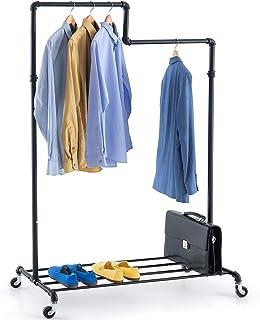 Tatkraft Tube Portant à Vêtements Robuste avec Porte-Chaussures, 2 Niveaux pour Une Organisation Optimale des Habits sur r...