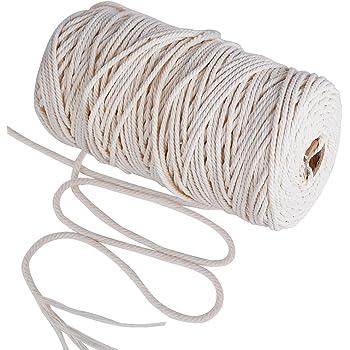 200m Cuerda Cordel de Algodón Hilo Macramé, 3 mm de diámetro, para Envolver Regalo Navidad, Colgar Fotos, Manualidades, Costura, DIY Artesanía: Amazon.es: Hogar