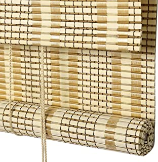 QIANDA Roll Up Window Blind Bamboo Corded Woven Wood Roman Shades with Blackout Backer Privacy Liner Thermal Insulated, Multiple Sizes (Color : A, Size : 100x200cm)