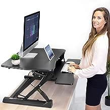 "Mount-It! Height Adjustable Standing Desk Converter   35"" Wide Desktop   Sit-Stand Desk with Gas Spring Handle   Stand Up Computer Workstation Fits Dual Monitors   Black (MI-7955)"