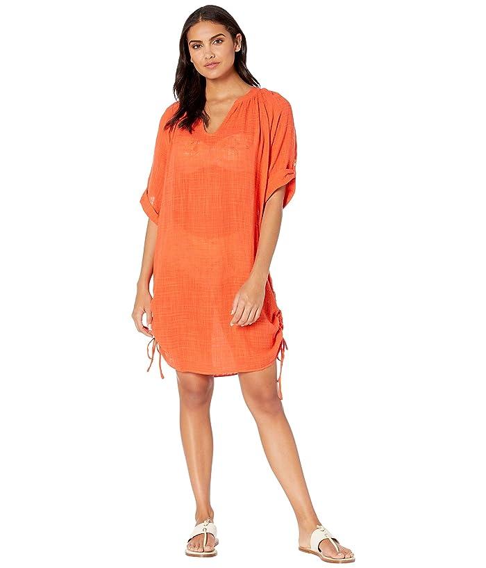 Seafolly Bali Hai Textured Gauze Beach Shirt Cover-Up (Tangelo) Women