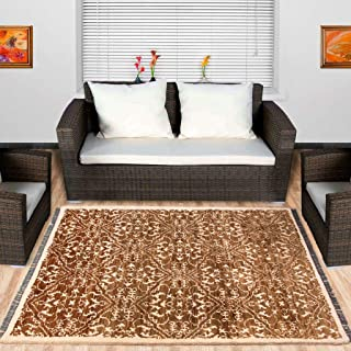 Area Rug Hand-Knotted Using Natural Fiber for Home Decor, in Modern Floral Design