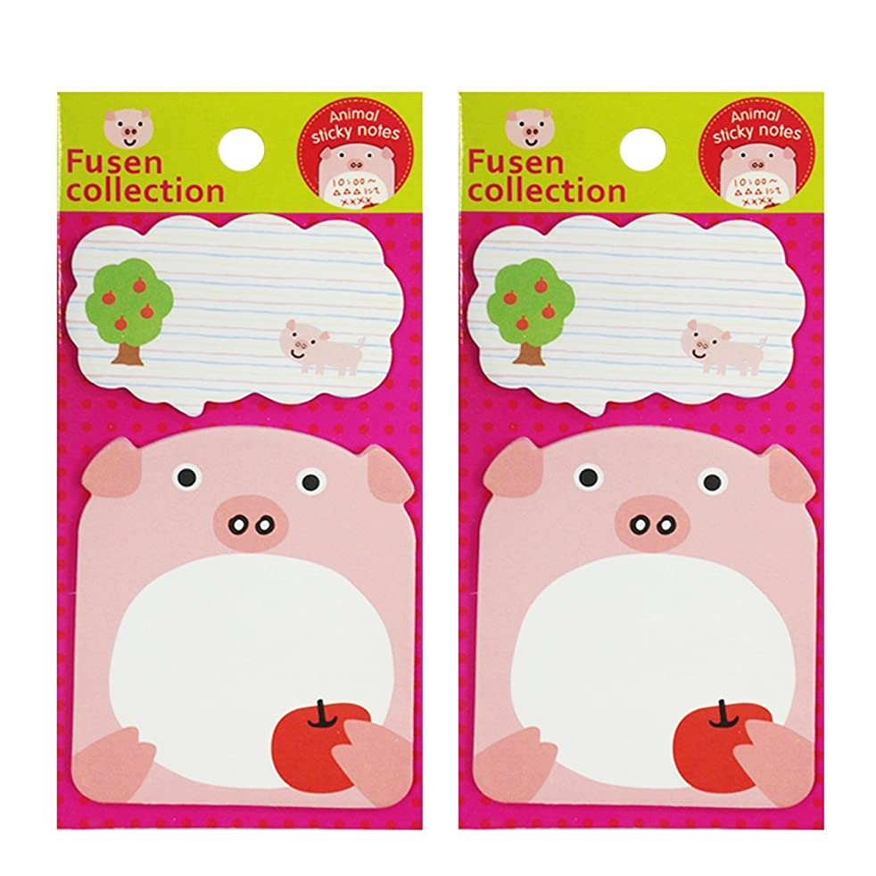 Wrapables Talking Animal Memo Bookmark Sticky Notes, Pig, Set of 2