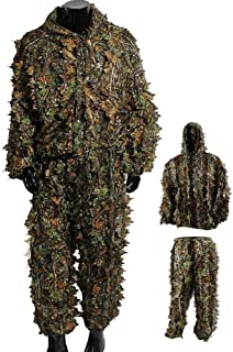 Uheng 3D Woodland Leafy Camo Suit, Hooded Camouflage Ghillie Leaf Hunting Suit Sets for Men Lightweight Outdoor Jungle Forest Army Tactical Wildlife Photography