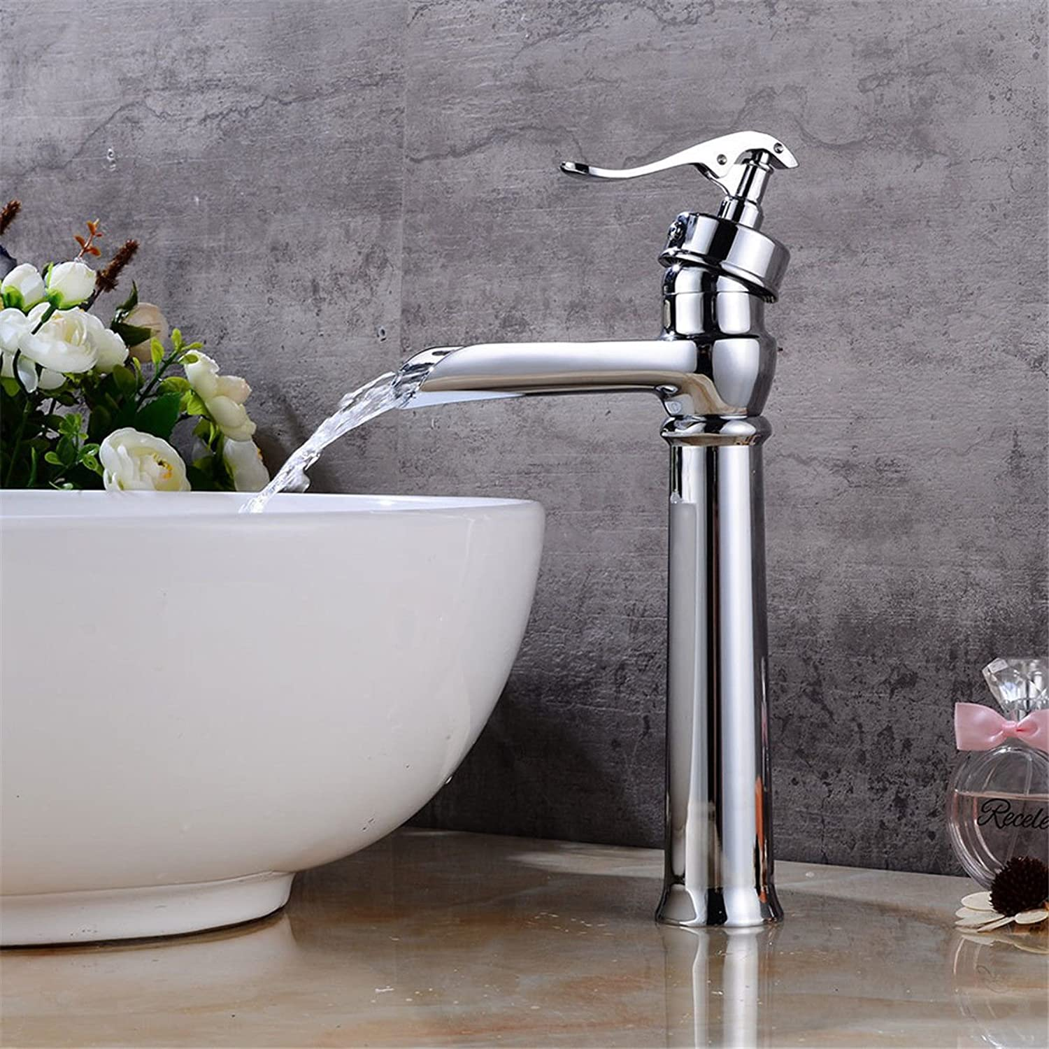 AQMMi Basin Taps Bathroom Sink Faucet Chrome Plated Waterfall Hot and Cold Water Bathroom Sink Faucet Basin Mixer Tap