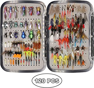 YZD Trout Fly Fishing Flies Collection 120 Premium Flies Dry Wet Nymph Streamers Fly Assortment Fly Box Flyfishing Flys Lures Kits Ultimate Trout Fly Selection 120Pcs