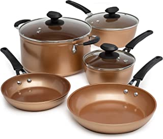 Ecolution EUCP-1208 Endure Titanium Ceramic Easy Clean Pots and Pans with Nonstick Interior Cookware Set with Silicone Stay Cool Handles, Copper