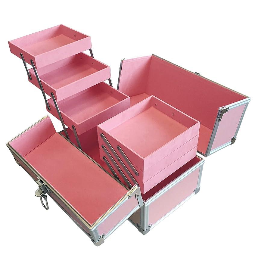 リライアブル コスメボックス RB003-PP 鍵付き プロ仕様 メイクボックス 大容量 化粧品収納 小物入れ 6段トレー ベロア メイクケース コスメBOX 持ち運び ネイルケース
