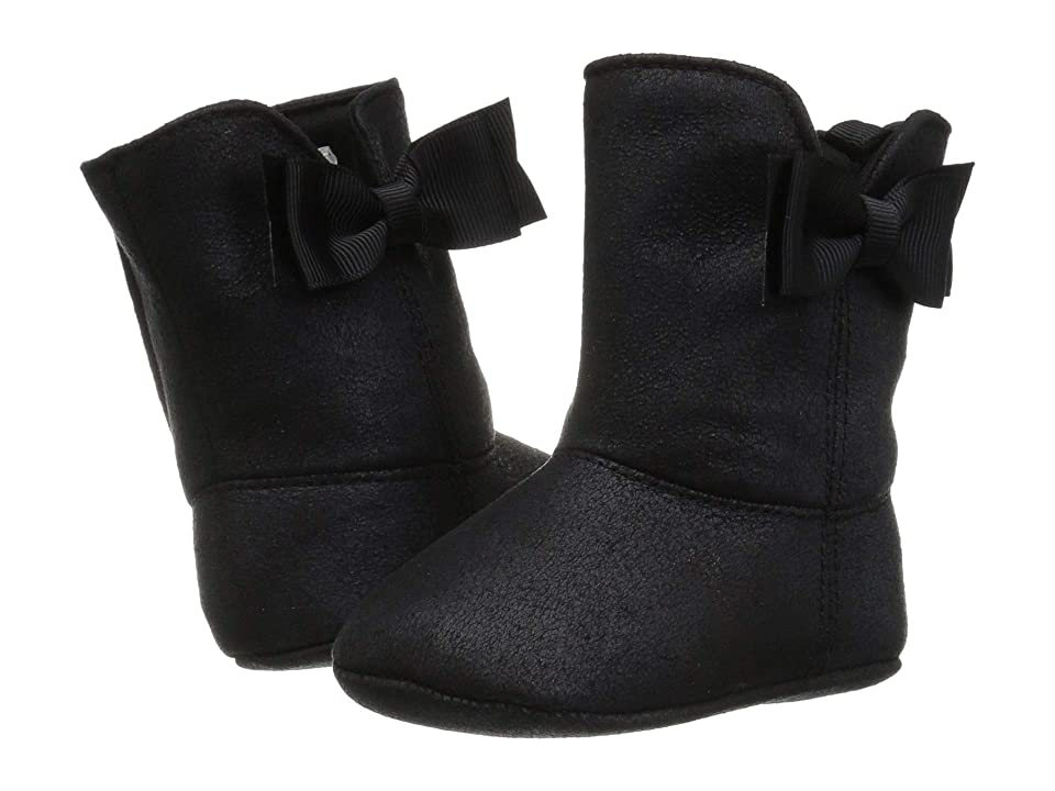 Baby Deer Soft Sole Shimmer Boot with Side Bow (Infant) (Black) Girls Shoes