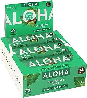 ALOHA Organic Plant Based Protein Bars |Chocolate Mint | 12 Count, 1.9oz Bars | Vegan, Low Sugar, Gluten Free, Paleo, Low ...