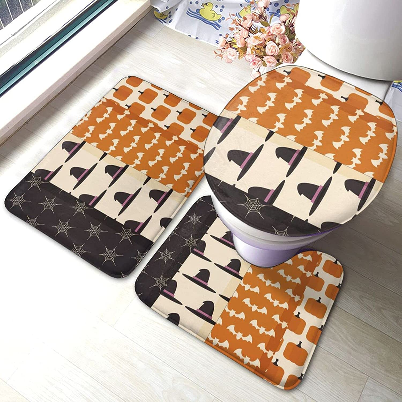 Cheap sale Halloween Bathroom Floor Mat Antiskid Now on sale Pad Set Toilet 3 Lid Piece