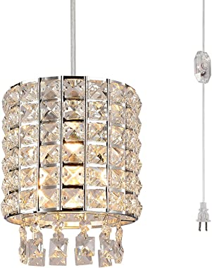 HMVPL Plug-in Crystal Swag Chandelier with ON/Off Dimmer Switch and 16.4 ft Clear Hanging Cord, Modern Chrome Cylinder Pendant Lights Fixtures for Kitchen Island Bedroom Bar Girls Kids